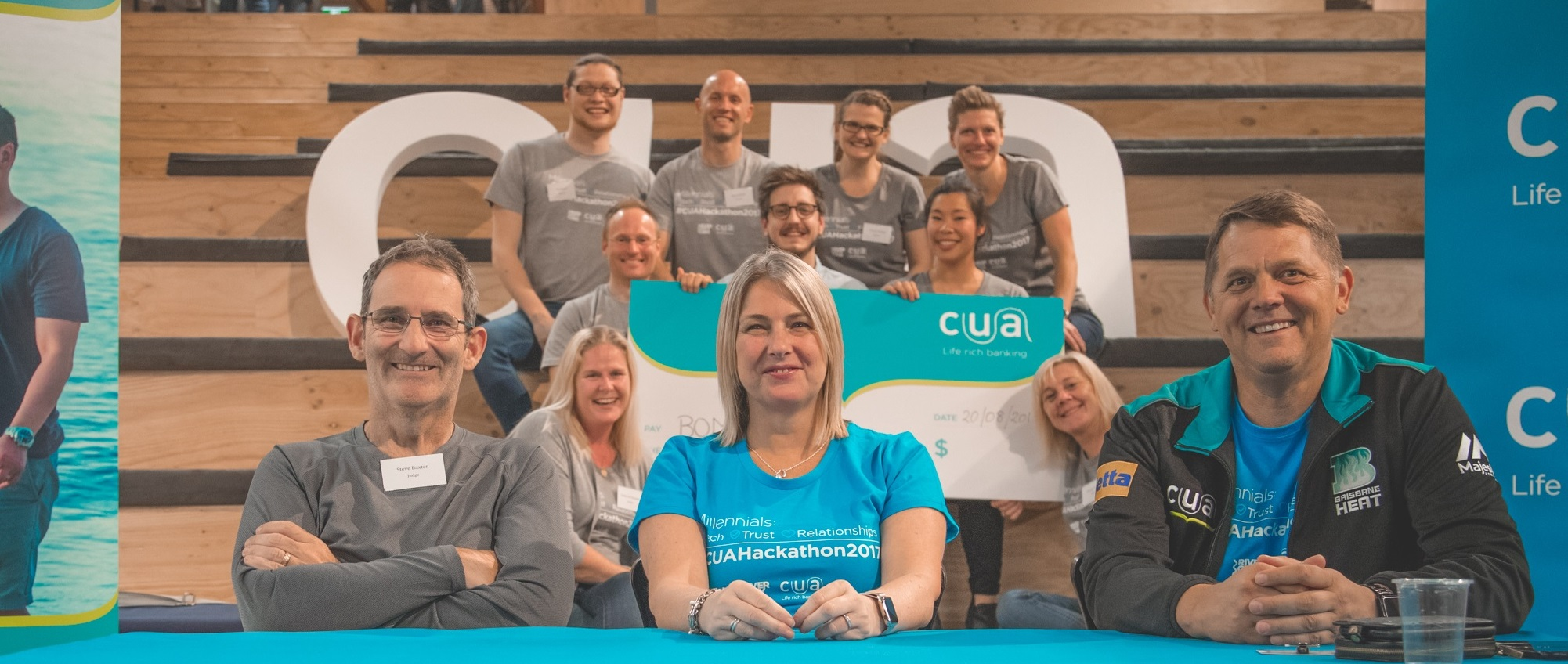 CUA Hackathon winning team with judges